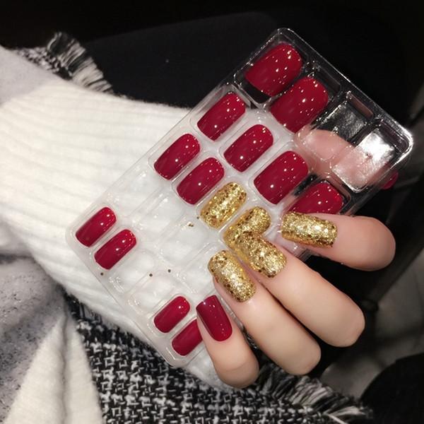 Großhandel Glänzende Rote Gefälschte Nägel Quadratische Mittlere Presse Auf Nägeln Glitter Dekoration Nagel Kunst Spitzen Einschließlich Kleber