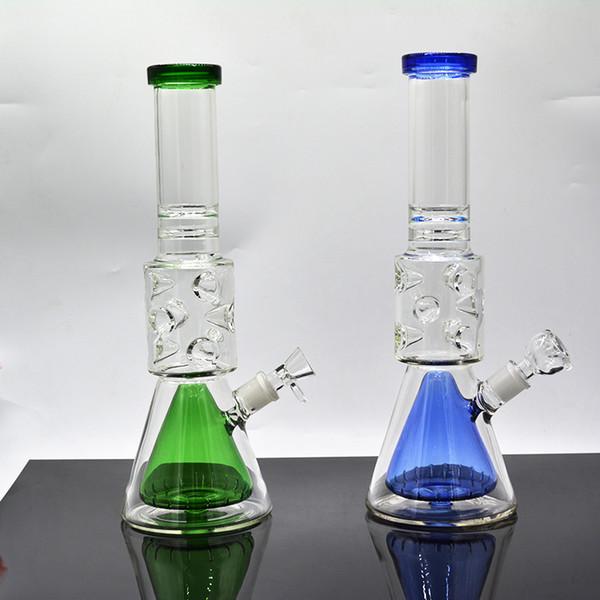 Hohe 16-Zoll-Glas Bongs 9mm Dicke Feberge Wasserleitung tupfen Ölbohrung Glasbecher Mathe Ball Perc Bongs Eis Prise 18mm Gelenk