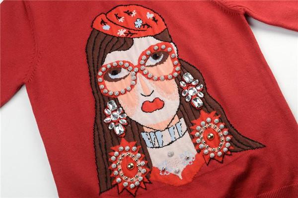 Moda-End Şarap Kırmızısı Kızlar Jakar Kazak Kadınlar Marka Same Stil Boncuk Kristaller Örgü Kadın Kazak Pist Stil Kazak 110101