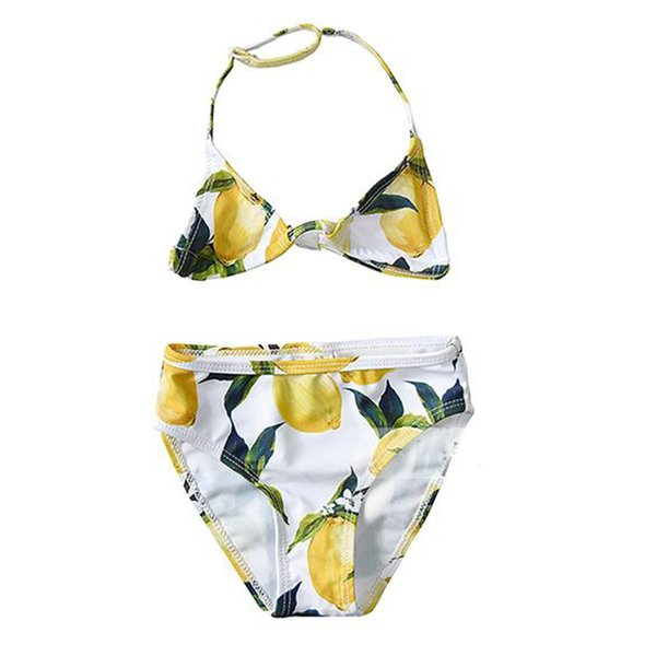 W.L.MONSOON Girls Summer Swimwear Kids Bikini Sicilian Lemon Toddler Swim Wear for Girls Two Piece Children Beach Swimsuit
