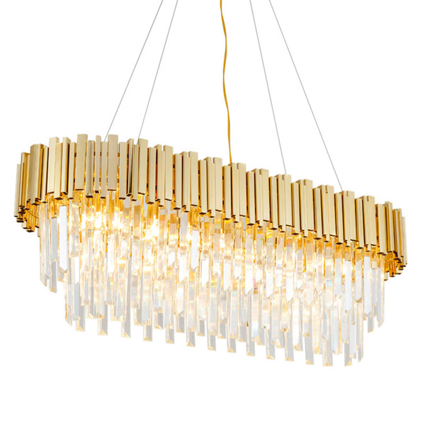 gold plated modern crystal chandelier lights luxury pendant ceiling light oval raindrop chandeliers fixture for kitchen island living room