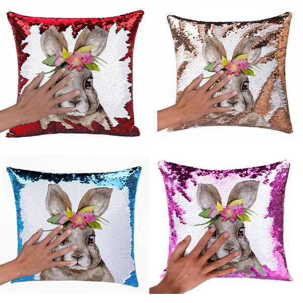 Easter Sequin Cushion Covers Bunny Rabbit Decorative Pillows Covers Suede Magic Throw Pillow Case Easter Day Office Car Home Decor
