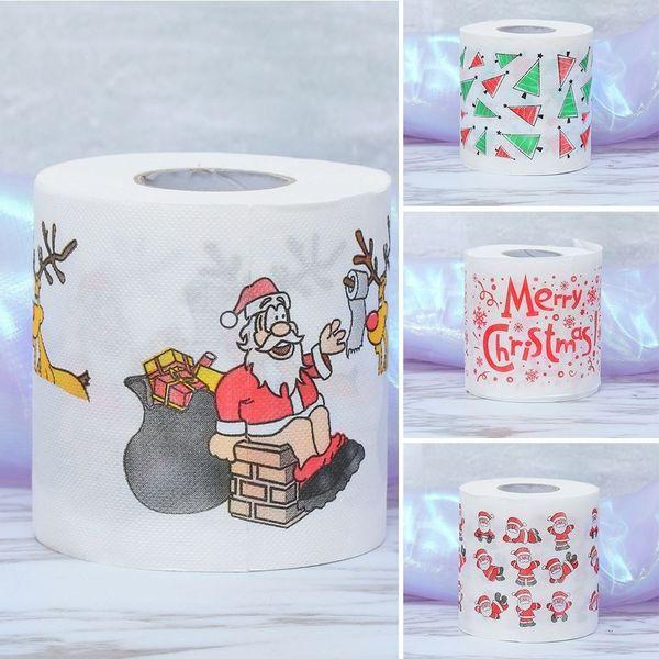 2 Roll Babbo Natale / Cervi Buon Natale Forniture per feste Stampata carta igienica Casa Bagno Soggiorno Decorazione Carta igienica Rotolo di tessuto Xmas L4
