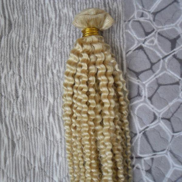 Mongolisches verworrenes gelocktes Haar bündelt Remy Menschenhaar-Erweiterungen 1pcs neue Jungfrauhaar-Erweiterungen Blond