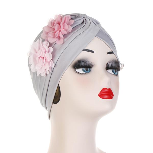 Muslim Women Ruffle Two Flowers Cotton Turban Hat Headwrap Cancer Chemo Beanies Hijab Bonnet Cap Headwear Hair Loss Accessories
