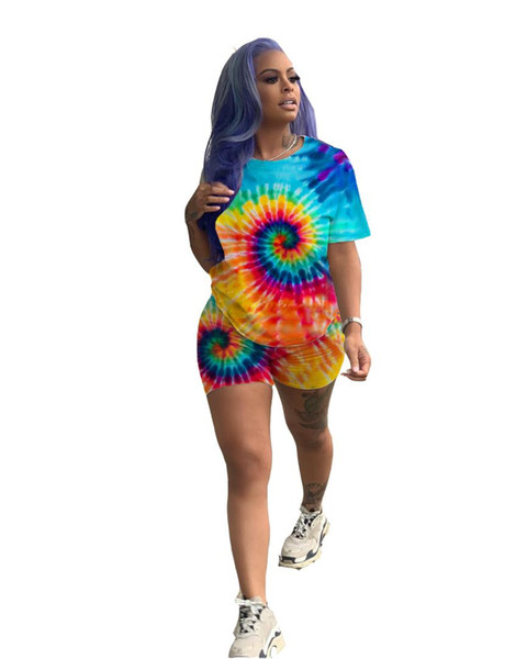 Women Summer Tie Dye 3D Print 2 Piece Set Tracksuit Short sleeve O-Neck T shirts And Shorts Suit Two Piece Set Outfit Sporty
