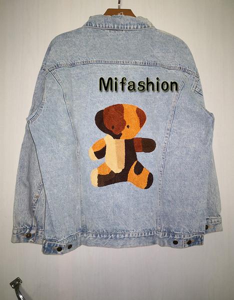 19FW Autunno Inverno Lusso Europa Italia asciugamano ricamo orso Breve denim pulsante giacca lavabile stone wash Coat Jeans Jacket