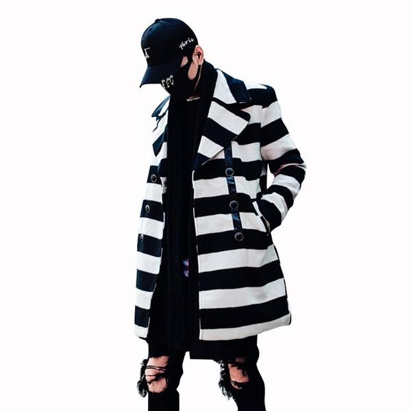 Turn-down Collar Striped Trench Coat Abrigo Hombre Erkek Kaban New Winter Men's Casual Male Clothes Long Wool Men Erkek Mont