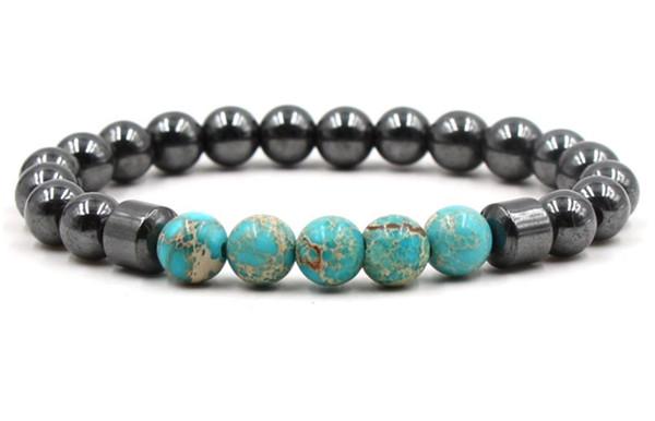 8mm xg42 regolato fascino natura azzurro imperatore pietra ematite perlina braccialetto donne guarigione preghiera reiki chakra buddha yoga