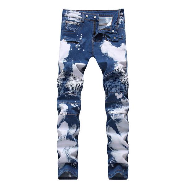 Fashion New Men Cycling Stretch Jeans Zipper Hole Double Color Hip Hop Wear White Jeans Trousers