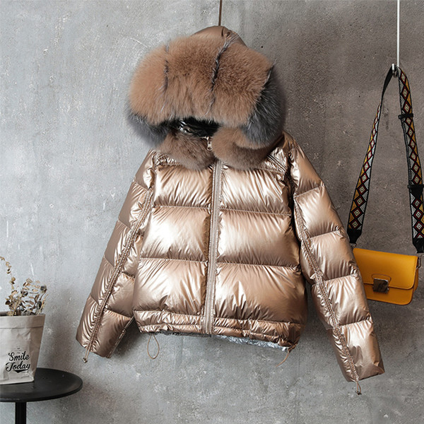 Chaqueta larga de doble cara Cuello de piel de invierno Abrigo de plumón de pato blanco Acolchado Parkas cálidas Ropa de abrigo para la nieve