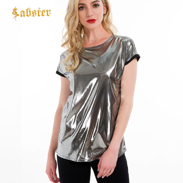 Short Sleeve Silver Silver Women Clothing Summer O Neck 2018 Ladies Summer Loose Tee Tops for Woman kz710
