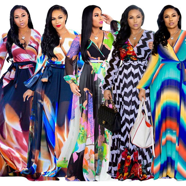 best selling Vestidoes Long Chiffon Dress Women Clothes Spring Autumn Designer V-neck Long sleeve Floral print Maxi Dresses plus size LJJA2973