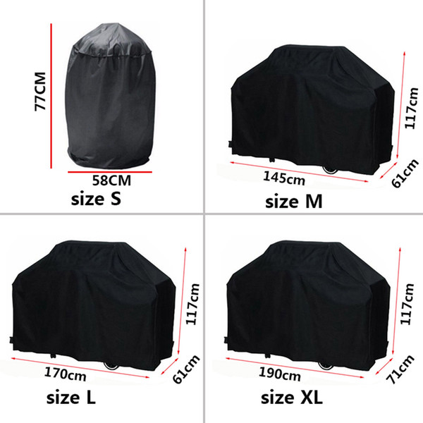 Black Waterproof BBQ Cover BBQ Accessories Grill Cover Anti Dust Rain Gas Charcoal Electric Barbeque Grill 4 Sizes for High Temperatures