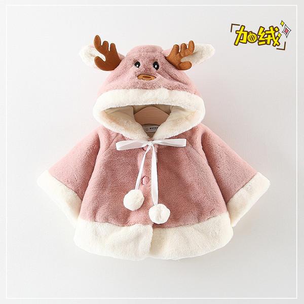 Nouvelles filles fourrure cape coral fleece oreilles de lapin avec capuche veste mignonne boule de cheveux hiver furry9993087c6w
