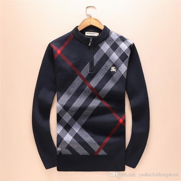 New autumn and winter men 039 ca ual men 039 weater round collar long leeve weater trend ca ual plaid tripe pattern high end weat, White;black