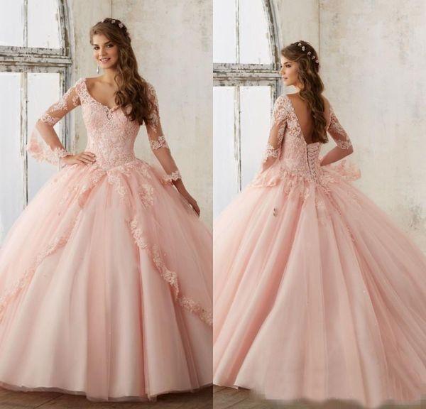 Blush princesa fiesta de quince años de manga larga rosa Vestidos Dieciséis cuello en V profundo del corsé Volver vestidos de encaje apliques Prom Largo 2019