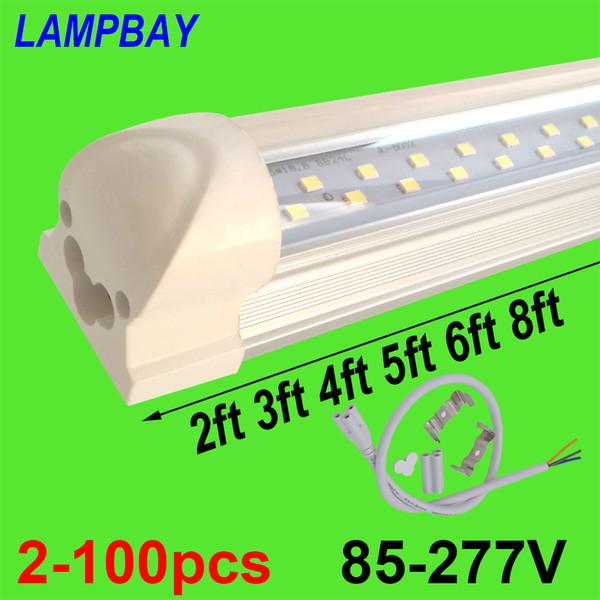 2-100pcs Zweireihige LED-Leuchtröhre 2ft 3ft 4ft 5ft 6ft 8ft Superhelle Twin Bar Lampe T8 integrierte Glühlampe mit Armaturen