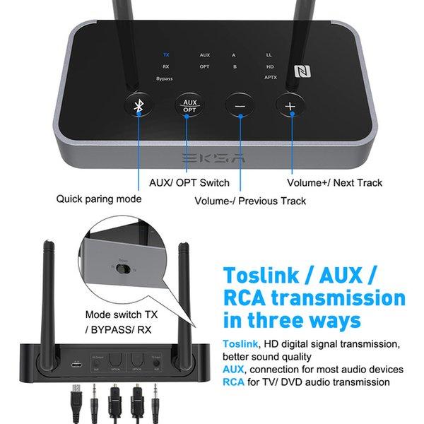 heap Wireless Adapter EKSA ET04 3 in 1 Bluetooth 5.0 Audio Transmitter Receiver CSR8675 Bluetooth Adapter Optical /3.5mm AUX/SPDIF for TV...