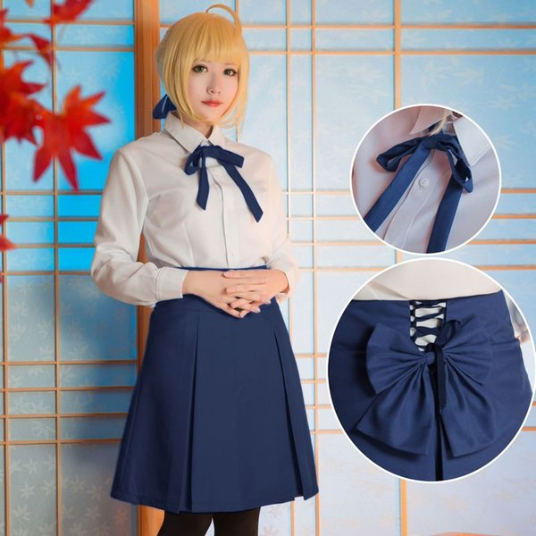 Nouveau Anime Fate / Stay Night Saber Costume Cosplay WhiteBlue Uniforme Jupe Carnaval Disfraces Halloween Costumes pour Femmes S-XL