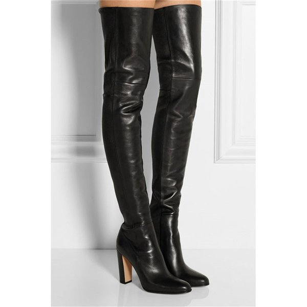 Fashion Leather Chunky Square Heels Thigh High Boots Women Ladies Round Toe Black Over Knee High Boots Dress Shoes