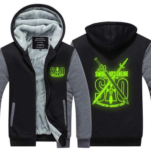 Men Casual Thicken Sword Art Online Anime Luminous Sweatshirts Winter Cashmere Hoodie Zipper Jacket Leisure Sweatshirts Thicken USA EU Size