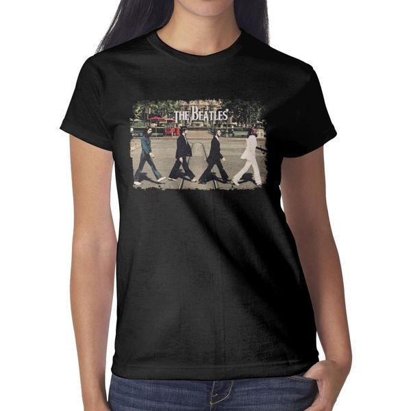 The Beatles Abbey Road Poster Women T Shirt black Shirts Custom T Shirts Designer Tee Shirts Band Print Your Own Shirt Black