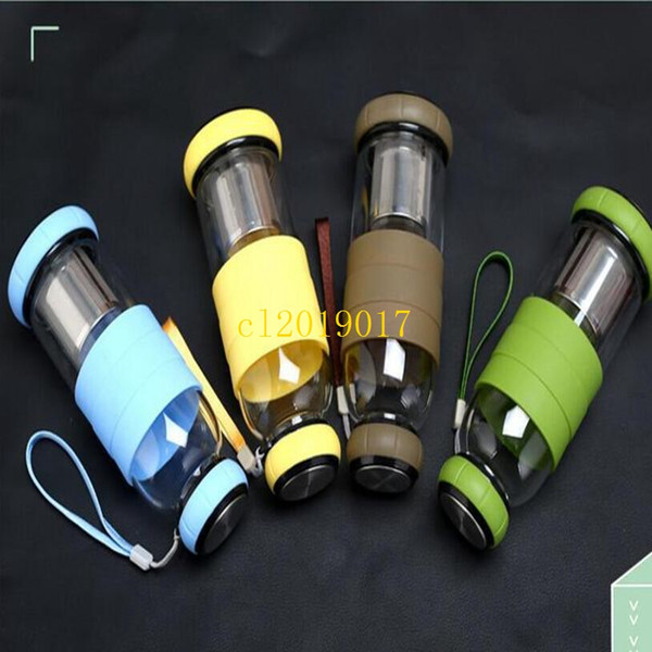 60Pcs Double-deck Tea Infusers high temperature resistant silicone glass water bottle glass Creative car gifts tea strainer 420ml/550ml
