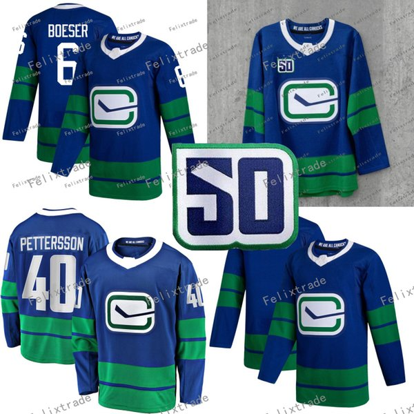 2019/20 50 ª Temporada Vancouver Canucks Terceiro Alternativo Terceiro Elias Pettersson Brock Boeser Em Branco Cheap Double Hitched Hockey Jersey