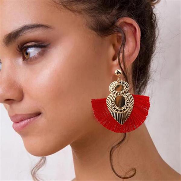 Fashion Bohemian Long Tassel Earring Women Christmas Long Earing Round Statement Dangle Circle Dangle Earrings Jewelry