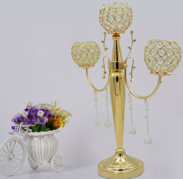 New gold 3 arms crystal beaded balls metal candelabra with flower bowl and hanging acrylic beads for wedding decoration centerpiece best0912