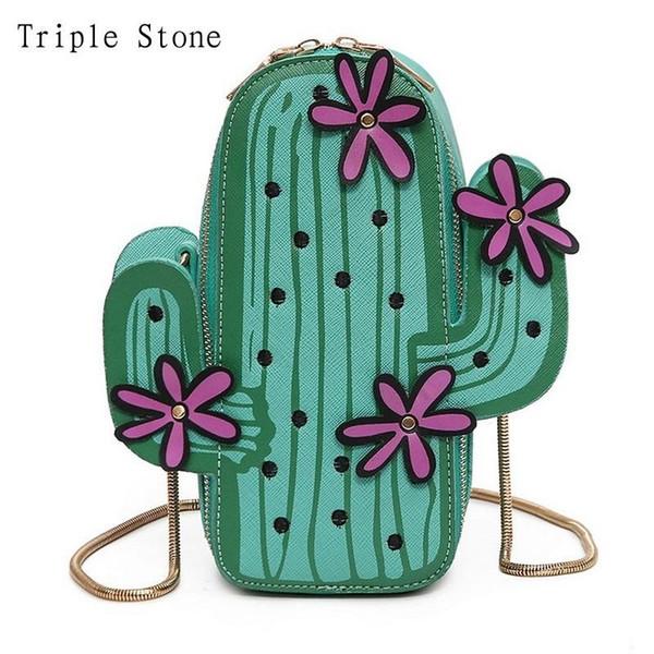 Cactus Handbag Women Messenger Bag Unique Shape Mini Girl Crossbody Cross Body Bag Fiore in pelle Borsa catena frizione Handtassen