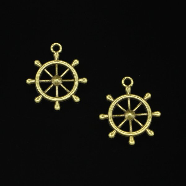 48pcs Antique Bronze Plated ship's wheel helm rudder Charms Pendants fit Making Bracelet Necklace Jewelry Findings Jewelry Diy Craft 28*24mm