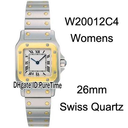 Nouveau W20012C4 Deux Tons Jaune Or Cadran Blanc Marque Roma 26mm Suisse Quartz Montre En Acier Inoxydable Bracelet Dames Montres CART-B35