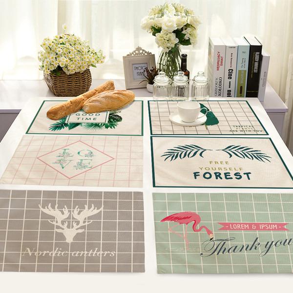 Antler Flamingo Leaf Pattern Tovaglietta in cotone e lino Isolamento termico Tovagliolo Tovagliolo per cucina Piatto per la cena