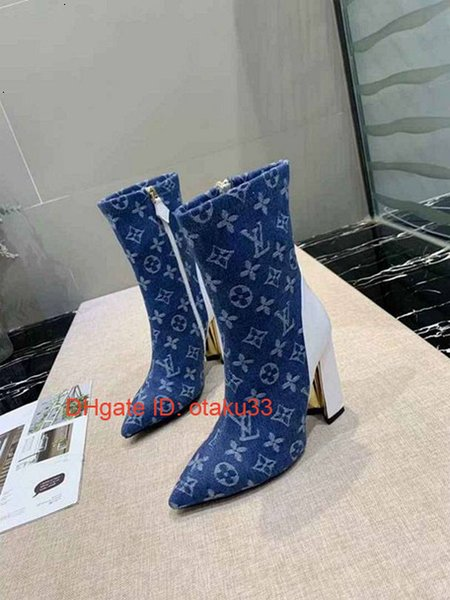 Boots For Women 2018 Fashion High Quality Middle Boots Stitching Elastic Retro Thick Heel Boots Sexy Jeans Boot JP11174