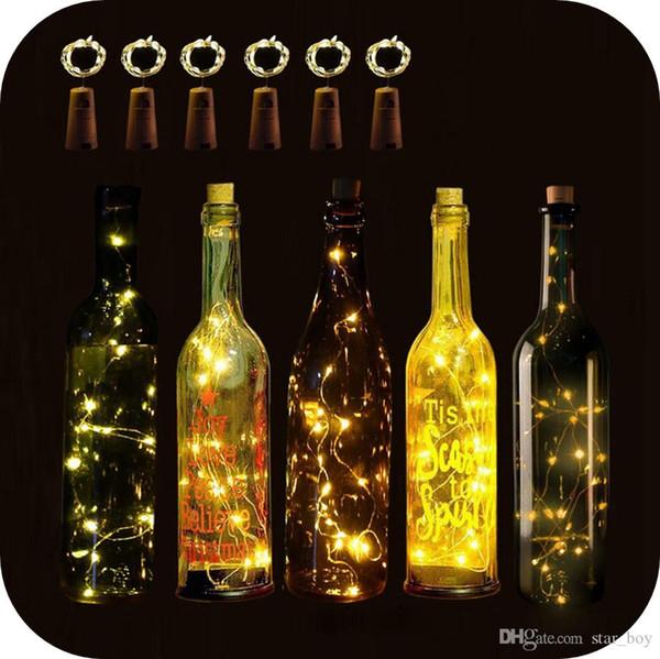 Weinflaschen-Beleuchtungsset mit korkenförmigem Stopfen 1M 10LED 2M 20LED Weinflaschen-Korkenleuchten Batteriebetriebene Kupferdraht-Lichterketten