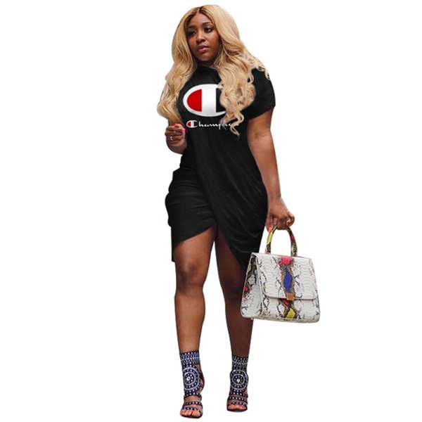 top popular Women Champions Letter Print Irregular Slit Dress Summer Fashion Short Sleeves Knee-Length T shirt Skirt Casual Sweatshirts Clothing A413003 2019