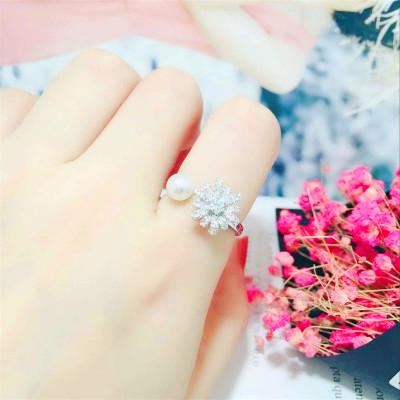 Rotating Personality Sterling Silver Ring S925 Silver Flower Female Sun Flower Artificial Pearl Open Full Diamond Ring