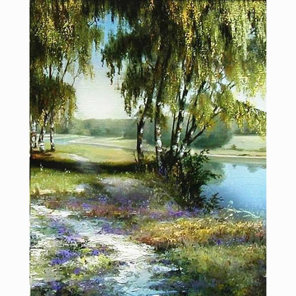 Casa beleza pintura caligrafia paisagem rio árvores óleo pictures on canvas coloring by número desenho ofício arte da parede JY094