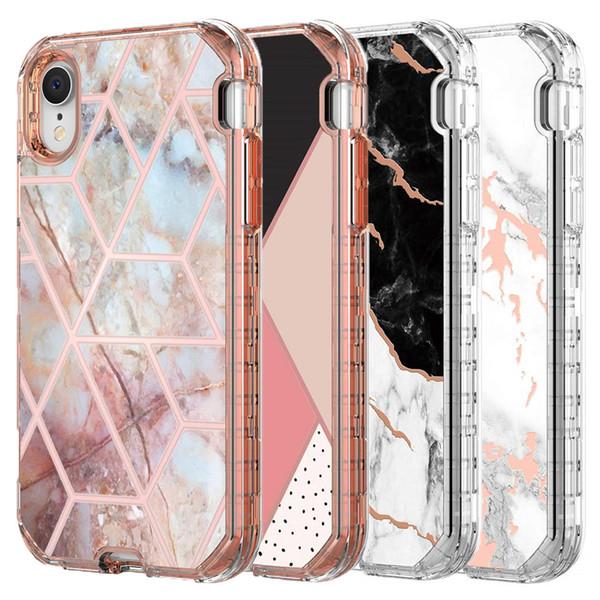 Per Iphone XR Custodia Luxury Marble 3in1 Heavy Duty Antiurto Copertura completa per la protezione del corpo per Iphone XR XS Max Samsung Note 10 Pro