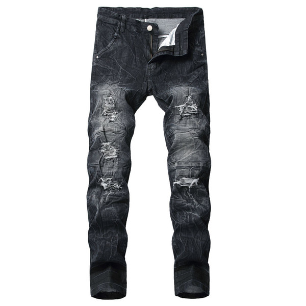 Men Jeans Stretch Destroyed Ripped Paint Point Design Fashion Full Length Ripped Jeans For Men Zipper Skinny For