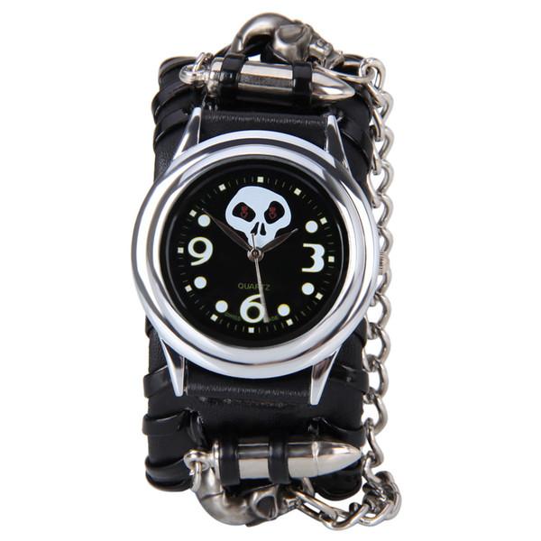 Cadena de punk rock negro Cabeza de cráneo bullet Reloj de cuero Mujer Hombre Pulsera Cuff Reloj gótico