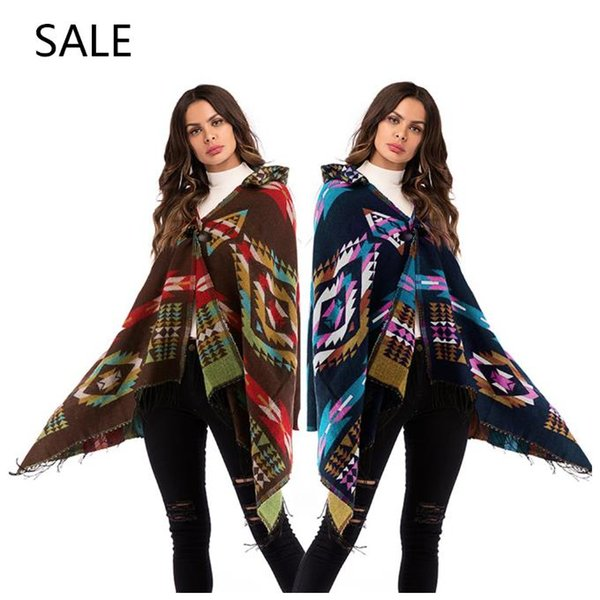 Women Knitted Cape Casual Style Special Geometric Tassel Horn Leather Buckle Design Ladies Spring Fashion Outrwear