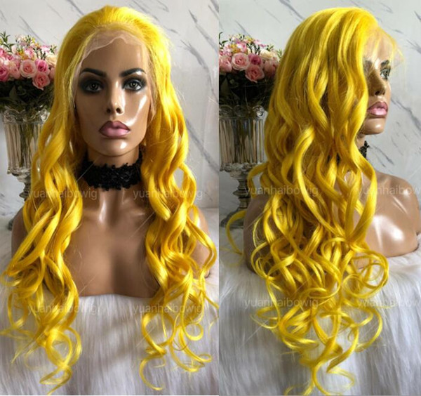 Yellow Full Lace Wig High Quality Virgin Brazilian Human Hair Color Lace Wigs Celebrity Wig Loose Wave Front Lace Wigs Free Shipping
