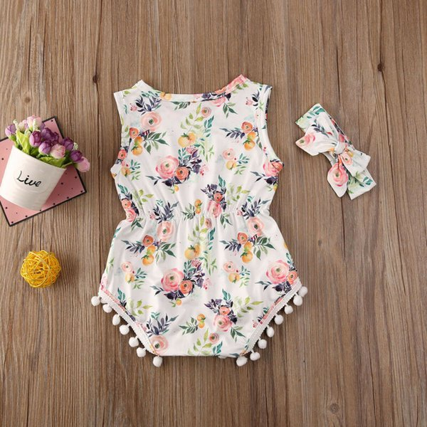 best selling 2020 Sweet Toddler Baby Kids Girl Casual Jumpsuit Sleeveless Floral Tassel Bodysuits Soft Cotton Clothes Summer Outfit
