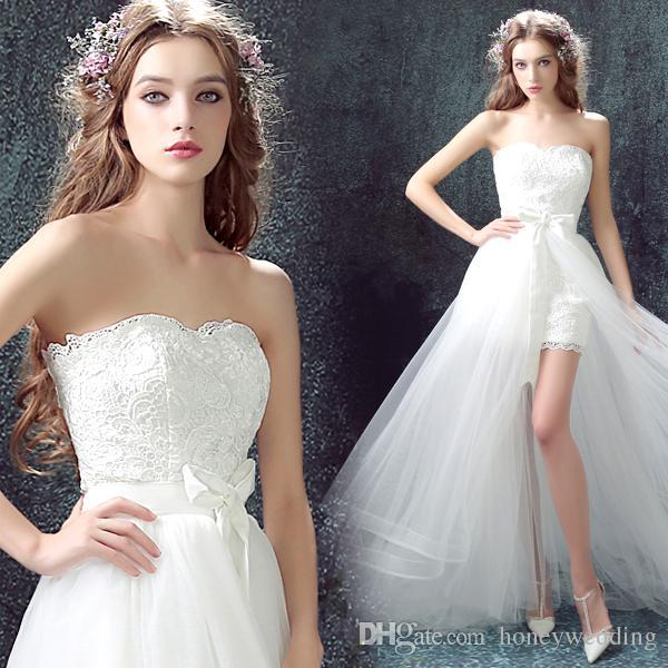 High Low Beach Wedding Dresses 2018 Detachable Train One In Two Bohemian Wedding Gowns Cheap Bride Dress Short Front Long Back