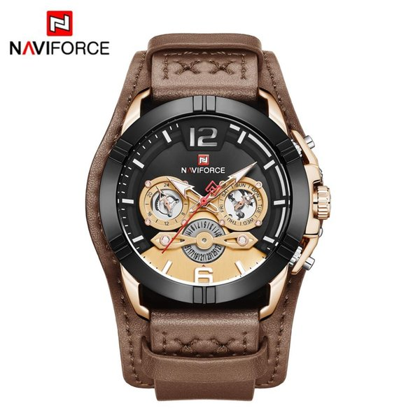 top popular NAVIFORCE 9162 Men Watch Male Leather Automatic date Quartz Watches 30M Waterproof Sport Clock Relogio Masculino Brown New DHL 2019