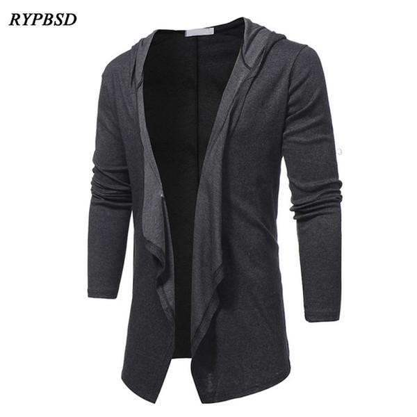 Neue 2019 Frühjahr Jacke Mann Mode V-Ausschnitt Schal Kragen Lange Strickjacke Jacke Männer Schwarz Grau Einfarbig Lässig Mit Kapuze Mantel Männer