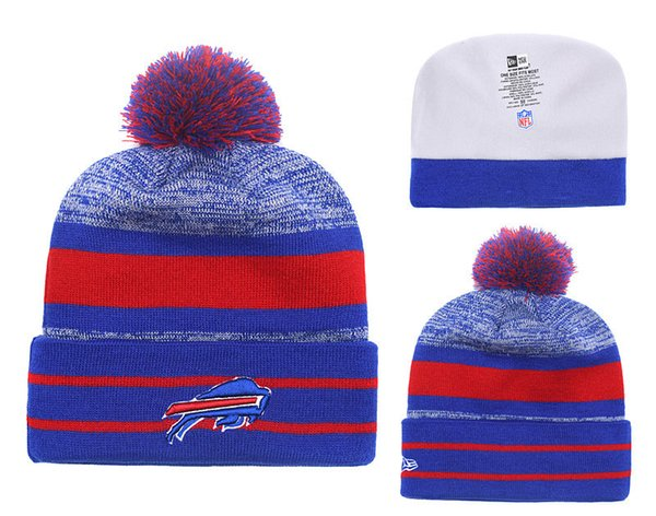 Men's Buffalo Bills New Royal 2018 Sideline Cold Weather Toasty Cover Pom Official Sport Knit Hat 02